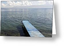 Blue Pier At Lake Ohrid Greeting Card