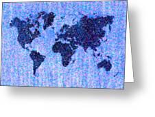 Blue Pointillist World Map Greeting Card