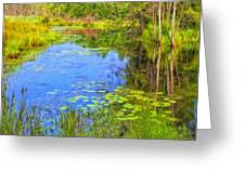 Blue Pond And Water Lilies Greeting Card