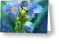 Blue Poppy Bouquet - Square Greeting Card