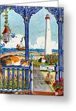 Blue Porch With Cat Greeting Card