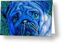 Blue Pug Greeting Card