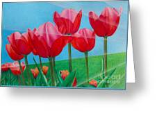 Blue Ray Tulips Greeting Card
