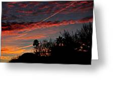 Blue Red And Gold Sunset With Streak Greeting Card