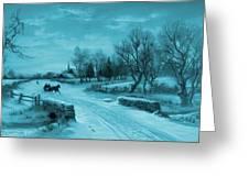 Blue Retro Vintage Rural Winter Scene Greeting Card