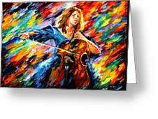 Blue Rhapsody - Palette Knife Oil Painting On Canvas By Leonid Afremov Greeting Card