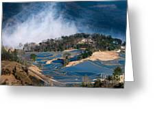 Blue Rice Terrace Greeting Card
