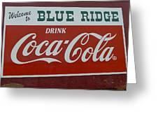 Blue Ridge Coca Cola Sign Greeting Card