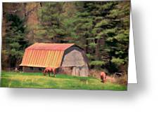 Blue Ridge Horses Greeting Card