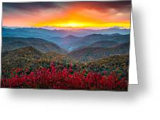 Blue Ridge Parkway Autumn Sunset Nc - Rapture Greeting Card
