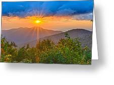 Blue Ridge Parkway Late Summer Appalachian Mountains Sunset West Greeting Card