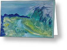Blue River Landscape I, 1988 Oil On Canvas Greeting Card