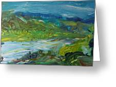 Blue River Landscape II, 1988 Oil On Canvas Greeting Card