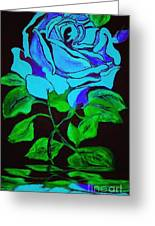 Blue Rose In The Rain Greeting Card