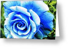 Blue Rose With Brushstrokes Greeting Card