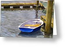 Blue Row Boat Greeting Card