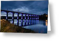 Blue Royal Border Bridge Greeting Card