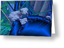 Blue Satin And Mushroom Greeting Card