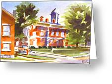 Blue Shadows With A Red Courthouse Greeting Card