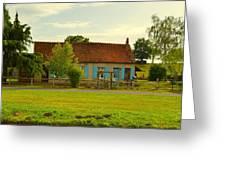 Blue Shuttered Cottage Greeting Card