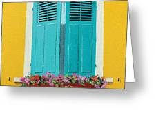 Blue Shutters And Flower Box Greeting Card