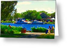 Blue Skies Boats And Bikes Montreal Summer Scene The Lachine Canal Seascape Art Carole Spandau Greeting Card