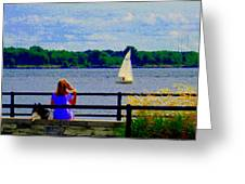 Blue Skies White Sails Drifting Blonde Girl And Collie Watch River Run Lachine Scenes Carole Spandau Greeting Card