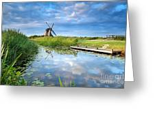 Blue Sky And Windmill Reflected In River Greeting Card