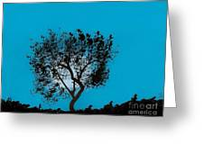 Blue Sky Moon Greeting Card