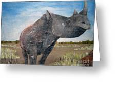 Blue Sky Rhino Greeting Card
