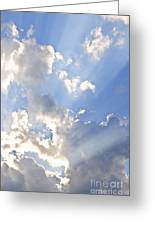Blue Sky With Sun Rays Greeting Card