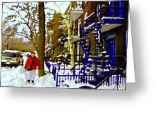 Blue Snowy Staircase And Birch Tree Montreal Winter City Scene Quebec Artist Carole Spandau Greeting Card