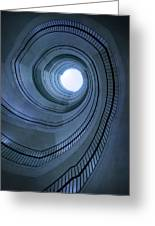 Blue Spiral Staircaise Greeting Card