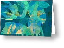 Blue Square Retro Greeting Card by Ann Powell