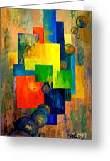 Blue Squared Greeting Card by Larry Martin