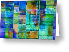 Blue Squares Abstract Art Greeting Card by Ann Powell