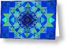 Blue Sri Yantra Variation Greeting Card