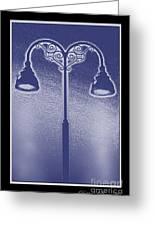 Blue Street Lights Greeting Card