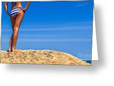 Blue Striped Bikini Greeting Card by Diane Diederich