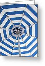 Blue Striped Umbrella Greeting Card