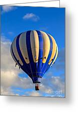 Blue Stripped Hot Air Balloon Greeting Card
