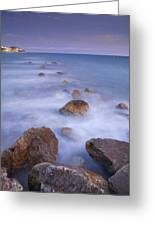 Blue Sunset At The Rocks Greeting Card