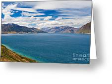 Blue Surface Of Lake Hawea In Central Otago Of New Zealand Greeting Card
