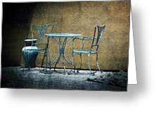 Blue Table And Chairs Greeting Card