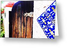 Blue Tile Brown Door 1 Greeting Card