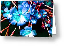 Blue Tint Flowers Greeting Card