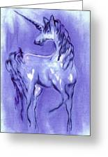 Blue Unicorn Greeting Card