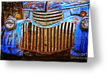 Blue Vintage Car Greeting Card
