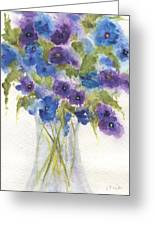 Blue Violet Flower Vase Greeting Card