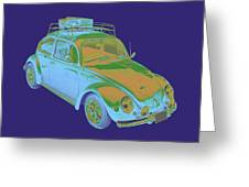 Blue Volkswagen Beetle Punch Buggy Modern Art Greeting Card